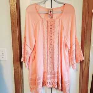 Johnny Was peach crochet tunic